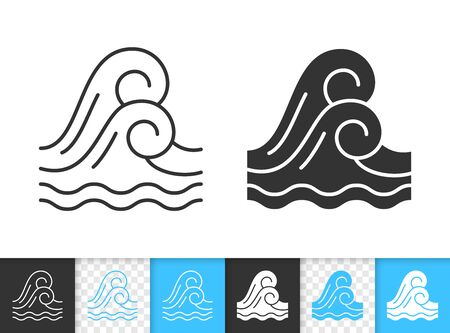 Wave black linear and silhouette icons. Thin line sign of sea. Water outline pictogram isolated on white, color, transparent background. Vector Icon shape. Marine simple symbol closeup Standard-Bild - 128737447