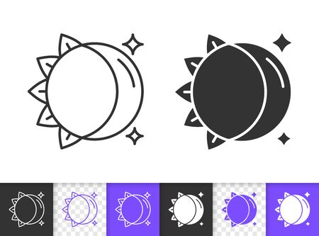 Moon and Sun black linear and silhouette icons. Thin line sign of day and night. Celestial outline pictogram isolated on transparent background. Vector Icon shape. Full moon simple symbol closeup