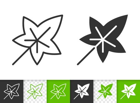 Leaf black linear and silhouette icons. Thin line sign of ivy. Foliage outline pictogram isolated on white, green, transparent background. Sprout vector icon shape. Eco plant simple symbol closeup