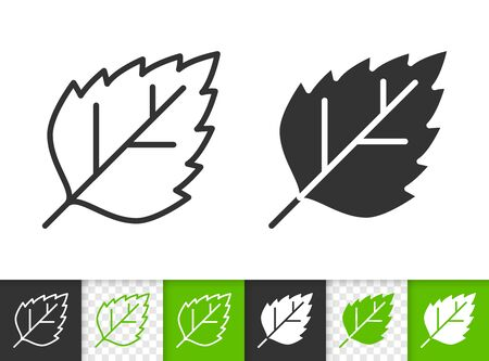 Leaf black linear and silhouette icons. Thin line sign of birch. Poplar outline pictogram isolated on white, green, transparent background. Sprout vector icon shape. Eco plant simple symbol closeup
