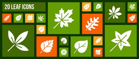 Organic Leaf silhouette icons set. Isolated sign kit of season foliage. Pictograms of clover, eco grass, botanical sycamore. Autumn Garden Simple white contour symbol. Organic Leaf vector Icon shape Illustration