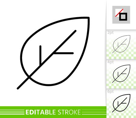 Leaf cherry thin line icon. Nature banner, flat style. Botanical poster. Linear pictogram. Foliage simple illustration, outline symbol. Vector sign isolated white. Editable stroke icons without fill