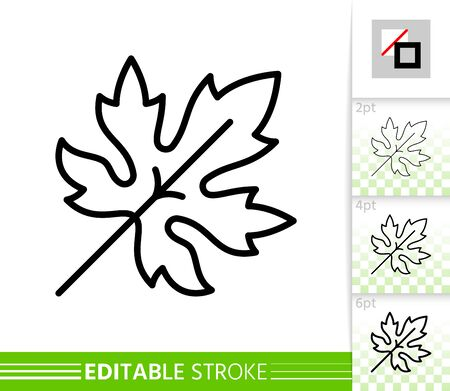 Leaf grapes or maple thin line icon. Nature banner, flat style. Botanical poster. Linear pictogram. Simple illustration, outline symbol. Vector sign isolated white. Editable stroke icons without fill