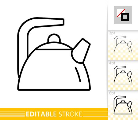 Teapot thin line icon. Kettle banner in flat style. Tea poster. Linear pictogram. Simple illustration, outline symbol. Vector sign isolated on white. Editable stroke icons without fill