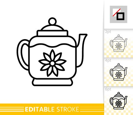 Teapot thin line icon. Tea Making flat style banner. Glass Kitchenware poster. Linear pictogram. Simple illustration, outline symbol. Vector sign isolated on white. Editable stroke icons without fill Illusztráció