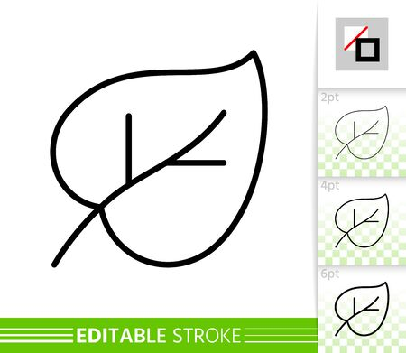 Leaf lilac or foliage thin line icon. Nature banner, flat style. Botanical poster. Linear pictogram. Simple illustration, outline symbol. Vector sign isolated white, editable stroke icons without fill