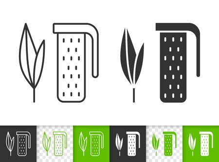 Tea Infuser black linear and silhouette icons. Thin line sign of leaf. Plant outline pictogram isolated on white, color, transparent background. Vector Icon shape. Tea Infuser simple symbol closeup Çizim