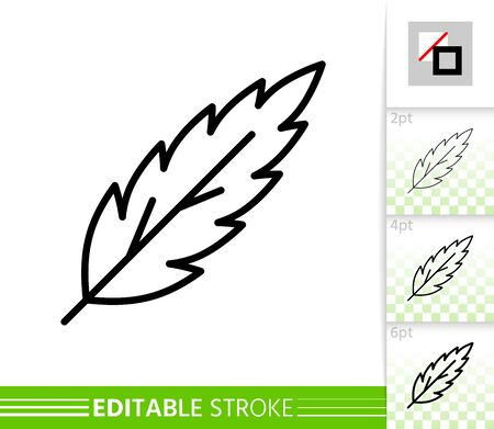 Leaf rowan thin line icon. Nature banner, flat style. Botanical poster. Linear pictogram. Foliage simple illustration, outline symbol. Vector sign isolated on white. Editable stroke icons without fill Иллюстрация