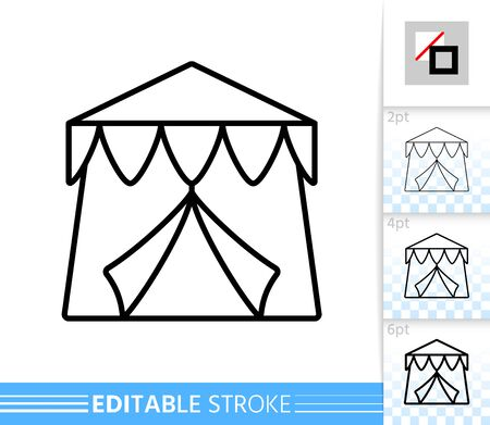Circus Tent thin line icon. Carnival banner in flat style. Event poster. Marquee Linear pictogram. Simple illustration outline symbol. Vector sign isolated on white. Editable stroke icons without fill Illustration