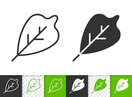 Leaf black linear and silhouette icons. Thin line sign of foliage. Organic outline pictogram isolated on white, green, transparent background. Sprout vector icon shape. Eco plant simple symbol closeup