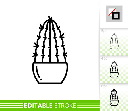 Cactus thin line icon. Succulent banner in flat style. Houseplant poster. Linear pictogram. Simple illustration, outline symbol. Vector sign isolated on white. Editable stroke icons without fill