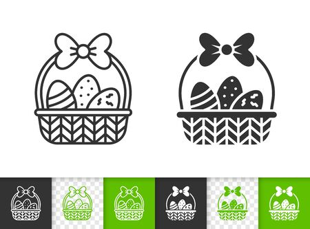 Easter black linear and silhouette icons. Thin line sign of chocolate egg. Basket outline pictogram isolated on white, transparent background. Vector Icon shape. Spring time simple symbol closeup Stock Illustratie