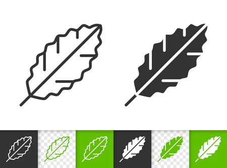 Leaf black linear and silhouette icons. Thin line sign of laurel. Foliage outline pictogram isolated on white, green, transparent background. Sprout vector icon shape. Eco plant simple symbol closeup Иллюстрация