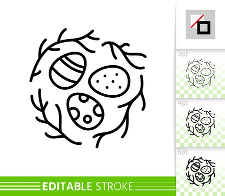 Easter egg nest thin line icon. Holiday poster. Spring banner in flat style. Simple illustration, outline symbol. Linear pictogram. Vector sign isolated on white. Editable stroke icon without fill