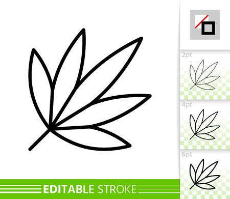 Leaf japanese maple thin line icon. Nature banner, flat style. Botanical poster. Linear pictogram. Simple illustration, outline symbol. Vector sign isolated on white Editable stroke icons without fill