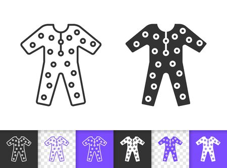 Pajama black linear and silhouette icons. Thin line sign of sleepwear. Wear outline pictogram isolated on white, transparent background. Shirt Vector Icon shape. Nightwear simple symbol closeup