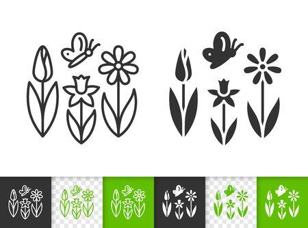 Schwarze lineare und Silhouettensymbole der Blume. Dünne Linie Zeichen des Frühlings. Schmetterlingsentwurfspiktogramm lokalisiert auf weißem, grünem, transparentem Hintergrund. Vektorsymbolform. Frühlingsgras einfaches Symbol Nahaufnahme