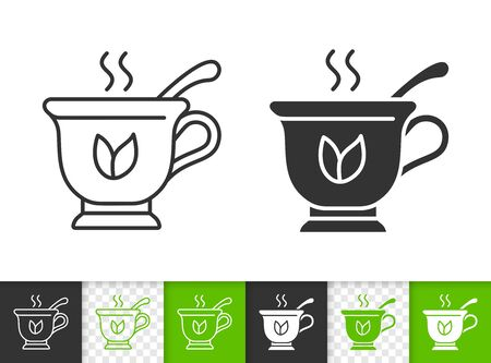 Tea black linear and silhouette icons. Thin line sign of cup spoon. Mug outline pictogram isolated on white, color, transparent background. Vector Icon shape. Hot beverage simple symbol closeup