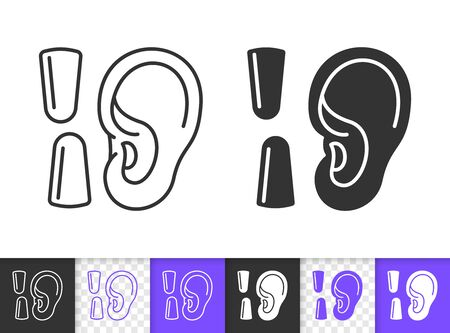 Ear black linear and silhouette icons. Thin line sign of earplug. Noise protection outline pictogram isolated on white, transparent background. Vector Icon shape. Ear health simple symbol closeup