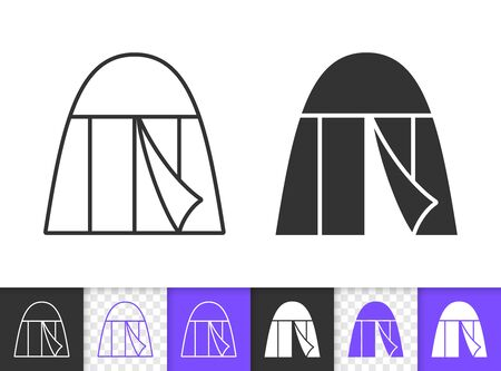 Camp black linear and silhouette icons. Thin line sign of tent. Summer Awning outline pictogram isolated on white, color, transparent background. Vector Icon shape. Camping simple symbol closeup 写真素材 - 128737739