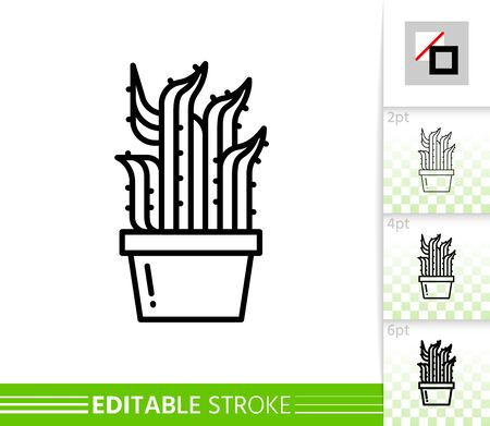 Cactus thin line icon. Aloe banner in flat style. Succulent poster. Linear pictogram. Houseplant simple illustration, outline symbol. Vector sign isolated on white. Editable stroke icons without fill Stock Illustratie
