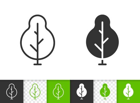 Geometric Tree black linear and silhouette icons. Thin line sign of abstract sapling. Poplar outline pictogram isolated on transparent background. Vector Icon shape. Green Plant simple symbol closeup