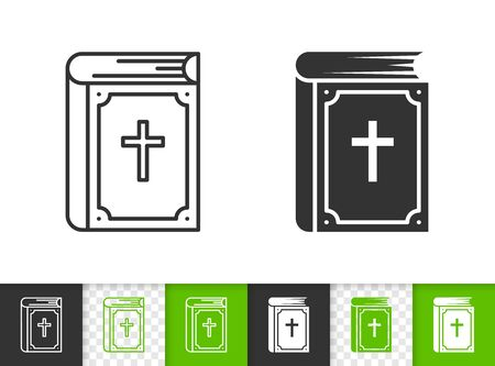 Bible black linear and silhouette icons. Thin line sign of christ book. Holy outline pictogram isolated on white, color, transparent background. Vector Icon shape. Religion simple symbol closeup Ilustração