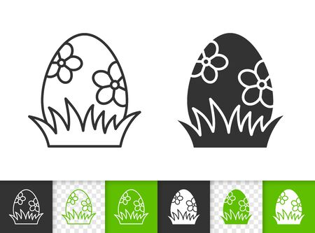 Easter black linear and silhouette icons. Thin line sign of chocolate egg. Grass outline pictogram isolated on white, green, transparent background. Vector Icon shape. Spring simple symbol closeup Stock Illustratie