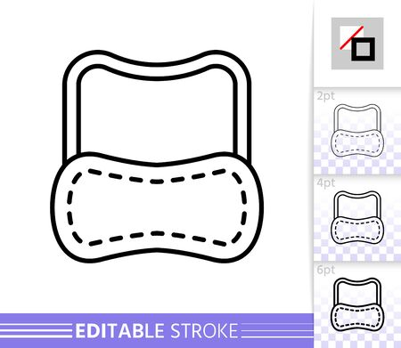 Sleep Mask thin line icon. Eyemask banner in flat style. Eye Blindfold poster. Linear pictogram. Simple illustration, outline symbol. Vector sign isolated on white. Editable stroke icons without fill Illustration