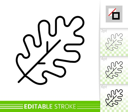 Leaf oak thin line icon. Nature banner, flat style. Botanical poster. Linear pictogram. Foliage simple illustration, outline symbol. Vector sign isolated on white. Editable stroke icons without fill