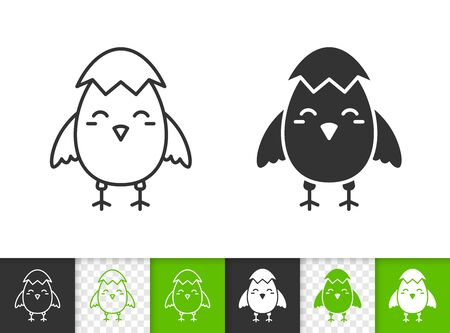 Chick black linear and silhouette icons. Thin line sign of easter. Egg outline pictogram isolated on white, green, transparent background. Vector Icon shape. Spring bird simple symbol closeup