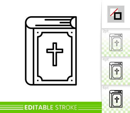 Holy bible book thin line icon. Cute poster. Christian banner in flat style. Simple illustration, outline symbol. Linear pictogram. Vector sign isolated on white. Editable stroke icon without fill Vettoriali