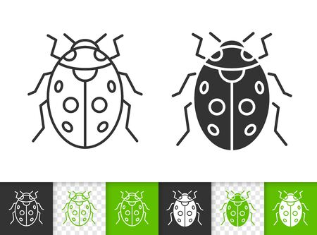 Ladybug black linear and silhouette icons. Thin line sign of ladybird. Bug outline pictogram isolated on white, color, transparent background. Vector Icon shape. Coccinellidae simple symbol closeup