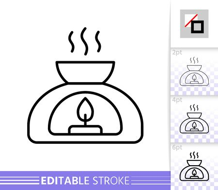 Aroma Lamp thin line icon. Aromatherapy banner in flat style. Meditation poster. Linear pictogram. Simple illustration outline symbol. Vector sign isolated on white. Editable stroke icons without fill Illustration