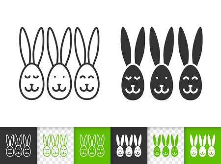 Easter black linear and silhouette icons. Thin line sign of egg. Bunny outline pictogram isolated on white, green, transparent background. Vector Icon shape. Spring rabbits simple symbol closeup