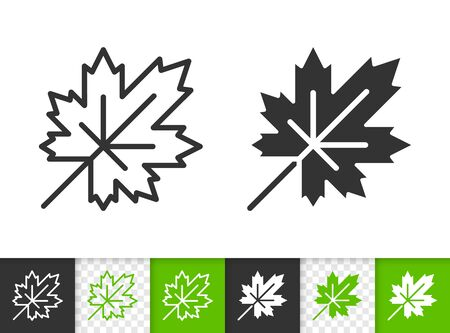Leaf black linear and silhouette icons. Thin line sign of maple. Foliage outline pictogram isolated on white, green, transparent background. Sprout vector icon shape. Eco plant simple symbol closeup Иллюстрация