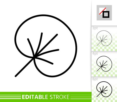 Leaf water lily thin line icon. Nature banner, flat style. Botanical poster. Linear pictogram. Simple illustration, outline symbol. Vector sign isolated on white. Editable stroke icons without fill Иллюстрация
