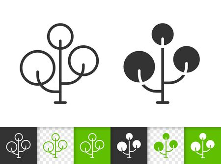 Geometric Maple tree black linear and silhouette icons. Thin line sign of chestnut. Bonsai outline pictogram isolated on white, green, transparent background. Vector Icon shape. Plant simple symbol