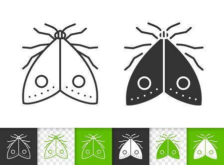 Moth black linear and silhouette icons. Thin line sign of butterfly. Insect outline pictogram isolated on white, color, transparent background. Vector Icon shape. Heterocera simple symbol closeup