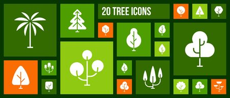 Geometric Tree silhouette icons set. Isolated web sign kit of graphic plant. Larch Forest pictograms of nature wood green oak, botany pine. Simple white contour symbol. Abstract Tree vector Icon shape