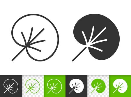 Leaf black linear and silhouette icons. Thin line sign of water lily. Foliage outline pictogram isolated on white, green, transparent background. Sprout vector icon shape. Plant simple symbol closeup Иллюстрация
