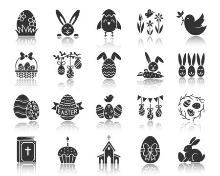 Easter silhouette icons set. Web sign kit of egg. Bunny Rabbit pictogram collection includes bread, sweet food, cute chick. Simple vector black symbol. Tradition church holiday icon with reflection