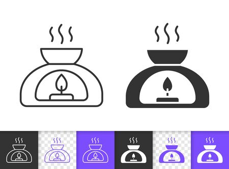 Aroma Lamp black linear and silhouette icons. Thin line sign of aromatherapy. Meditation outline pictogram isolated on white, transparent background. Vector Icon shape. Spa simple symbol closeup Illustration
