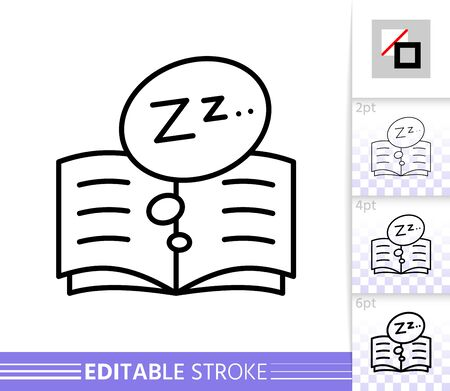Bedtime thin line icon. Read banner in flat style. Book poster. Zzz Linear pictogram. Simple illustration, outline symbol. Vector sign isolated on white. Editable stroke icons without fill
