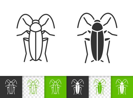 Cockroach black linear and silhouette icons. Thin line sign of roach. Home Pest outline pictogram isolated on white, color, transparent background. Vector Icon shape. Cockroach simple symbol closeup