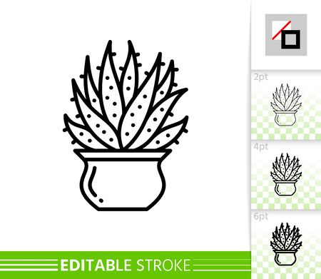 Cactus thin line icon. Aloe banner in flat style. Succulent poster. Linear pictogram. Houseplant simple illustration, outline symbol. Vector sign isolated on white. Editable stroke icons without fill Ilustrace