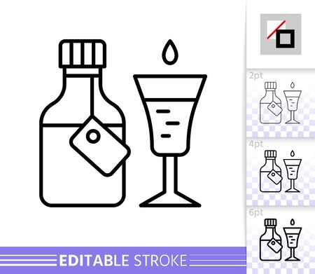 Medicine thin line icon. Syrup Cough banner in flat style. Bottle Medical poster. Linear pictogram. Simple illustration, outline symbol. Vector sign on white. Editable stroke icons without fill