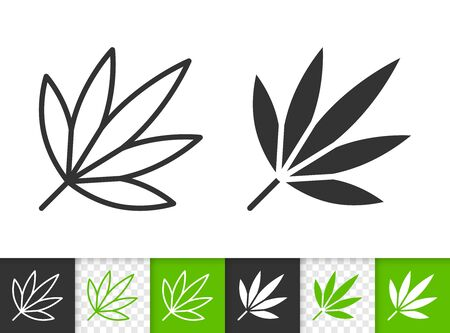 Leaf black linear and silhouette icons. Thin line sign of japanese maple. Foliage outline pictogram isolated on white, green, transparent background. Vector Icon shape. Plant simple symbol closeup Иллюстрация