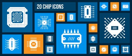 Microchip silhouette icons set. Isolated sign kit of cpu. Microprocessor pictogram collection includes micro chip, abstract circuit. Simple white contour symbol. PC processor vector Icon shape