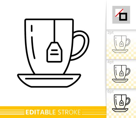 Green Tea thin line icon. Mug banner in flat style. Teabag poster. Teacup Linear pictogram. Simple illustration, outline symbol. Vector sign isolated on white. Editable stroke icons without fill